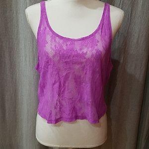 Pink Sz Small  Purple Lace Tank Top Crop